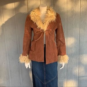 Outeredge leather and faux fur jacket